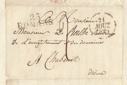 Lac 1829 Genissieux Vers Chabeuil Valence Drome Pour De Berlhe - Marcophilie (Lettres)