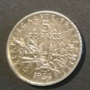 FRANCIA -  5 FRANCHI - ANNO 1964 - ARGENTO - OSSIDO NATURALE - J. 5 Franchi