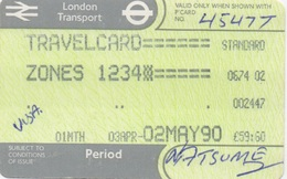London Transport Travelcard : Zones 1 2 3 4 : 1 Month 03APR-02MAY 1990 : £59.60 - Europe