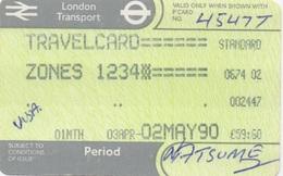 London Transport Travelcard : Zones 1 2 3 4 : 1 Month 03APR-02MAY 1990 : £59.60 - Season Ticket