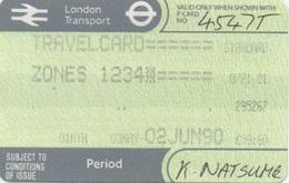 London Transport Travelcard : Zones 1 2 3 4 : 1 Month 03MAY-02JUN 1990 : £59.60 - Season Ticket
