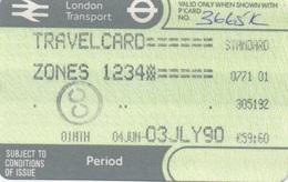 London Transport Travelcard : Zones 1 2 3 4 : 1 Month 04JUN-03JLY 1990 : £59.60 - Season Ticket