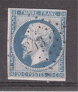 Empire N° 14 A F BLEU LAITEUX  Obl Pc 243 De BALLON , Sarthe , Indice 8, B/TB - 1853-1860 Napoléon III