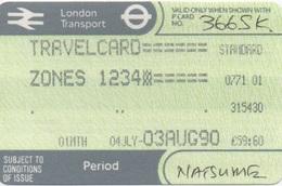 London Transport Travelcard : Zones 1 2 3 4 : 1 Month 04JLY-03AUG 1990 : £59.60 - Season Ticket