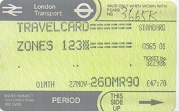 London Transport Travelcard : Zones 1 2 3 : 1 Month 27NOV-26DMR 1990 : £47.70 - Season Ticket