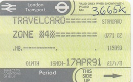 London Transport Travelcard : Zone 4 : 1 Month 18MCH-17APR 1991 : £17.70 - Europe