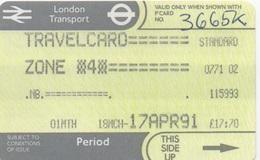 London Transport Travelcard : Zone 4 : 1 Month 18MCH-17APR 1991 : £17.70 - Season Ticket