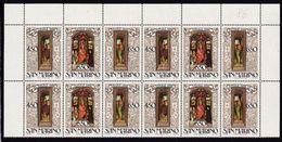 1986 San Marino Saint Marin NATALE  CHRISTMAS  4 Serie Di 3v. (Trittico) In Quartina Angolare Triptych Bl.4 - Natale