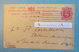 Gabriel FERVAN 1906 - Compositeur - Carte Postale Autographe - London - Entier Postal One Penny - à Costallat - Autographes