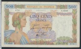 Frankreich Pick-Nr: 95b (1941) Gebraucht (III) 1941 500 Francs (7350038 - Schatzamt
