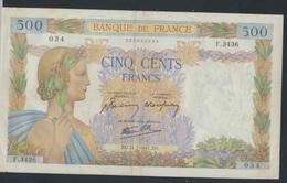 Frankreich Pick-Nr: 95b (1941) Gebraucht (III) 1941 500 Francs (7350039 - Schatzamt