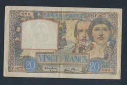 Frankreich Pick-Nr: 92b (1941), Gelocht Stark Gebraucht (IV) 1941 20 Francs (7497790 - Schatzamt