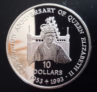 "Solomon Islands 10 Dollars 1992 Sivler Proof ""40th Anniversary - Queen Elizabeth'"" Free Shipping Via Registered Air Mail - Salomonen"