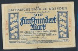 Sachsen Rosenbg: SAX11b Länderbanknote Sachsen, KN Rot, Serie: B,D Stark Gebraucht (IV) 1922 500 Mark (8087345 - [ 3] 1918-1933 : Weimar Republic
