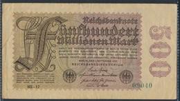 Deutsches Reich Rosenbg: 109c, Wz. Hakensterne, Firmendruck KN 5stellig Gebraucht (III) 1923 500 Mio. Mark (8590319 - [ 3] 1918-1933: Weimarrepubliek