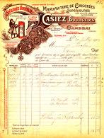 FA 919 /FACTURE- MANUFACTURE DE CHICOREE CASIEZ-BOURGEOIS   -1904-  CAMBRAI (NORD) - Alimentos