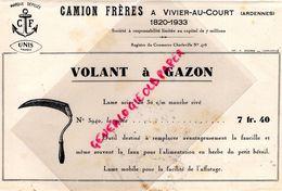 08- VIVIER AU COURT- BELLE PUBLICITE CAMION FRERES-VOLANT A GAZON- SERPE- IMPRIMERIE ANCIAUX CHARLEVILLE-ANNEES 50 - Agriculture
