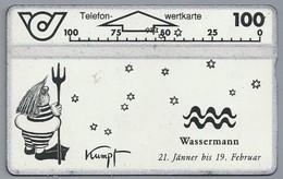 AT.- Telefoonkaart. Telefon-wertkarte. Telefonwertkarte. Wassermann 21 Jänner Bis 19 Februar. Kumpf. Oostenrijk. 232B - Zodiaco