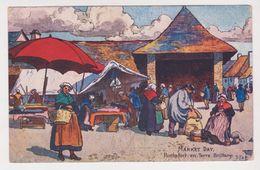 26345 Rochefort En Terre -Market Day -DF&B ? - Dessin Halles Bretonne Costume Postée 1905 - Tissus - Rochefort En Terre