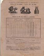 Publicité Reco Verso Pompe Centrifuge L Dumont à Paris - France