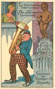 BRUXELLES - Souvenir Du Manneken-pis, Carte Illustrée Humoristique.(Albert éditeur) - Monumenti, Edifici