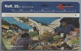 Telefoonkaart. BETEL. Floating Market, Curacao. Nafl. 25,-. 2 SCANS - Antillen (Nederlands)