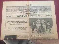 JOURNAL ACTUALITES DU CIRQUE KNIE - ETE 1972 - Journaux - Quotidiens