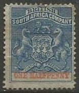 Br South Africa Co - 1892 Arms 1/2d MH*    Sc 1 - Great Britain (former Colonies & Protectorates)