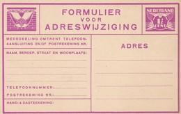 Netherlands Nederland  Pays Bays Adreswijziging 1 1/2 Cent - Postal Stationery