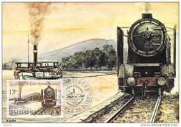 Yougoslavie Carte Maximum Yvert 1790 CONFERENCE SUR LE DANUBE BATEAUX A VAPEUR - Jugoslawien