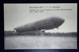 Deutsches Reich Zepplin Postkarte  Reichsluftschiff Z. 1 In München 1909 - Luftpost