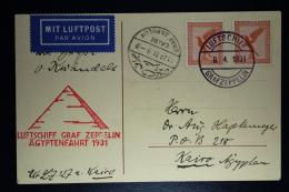 Deutsches Reich LZ 127 Graf Zepplin  Agyptenfahrt 1931 Postkarte Sieger 104b - Luftpost