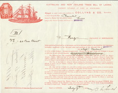 Connaissement Transport Bateau Australian New Zealand Londres Brisbane Par Le Gauntlet 1882 - Transports