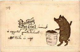 Pigs, Pig With A Sack Of Coins, New Year, Old Postcard - Varkens