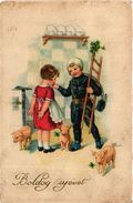 Pigs, Chimney Sweeper Boy And A Girl In The Kitchen With Pigs, New Year, Old Postcard - Pigs