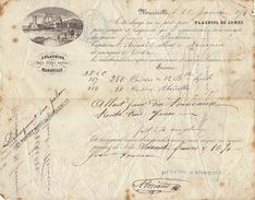 Connaissement Transport Bateau Par Indien De Marseille à Noumea Nouvelle Caledonie 1876 Plagniol Huile D'olive Marseille - Transports