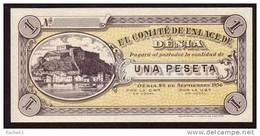 Billet  - ESPAGNE - 1 Peseta  Du 26 09 1936  - DENIA Guerre Civile NEUF - [ 3] 1936-1975 : Regency Of Franco