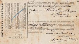 Connaissement Transport Bateau Le Gironde De Rotterdam à Bordeaux 1882 - Transports