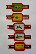 Lot  De 5 Bagues De Cigare JUBILE- AVIONS ( 12-13-14-15-16 ) - Marque Et Type Au Verso - Bagues De Cigares