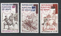 BÉNIN Scott C247-C249 Yvert  PA260-PA262 (3) ** Cote 10,50$ 1976 Surcharges - Bénin – Dahomey (1960-...)
