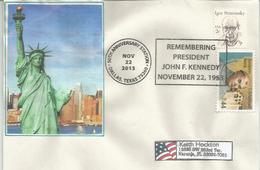 Statue De La Liberté: Remembering President John F.Kennedy 22 Nov.2013.Dallas.Texas, Sur Lettre - Monuments