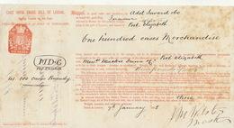 Connaissement Transport East India Bateau Le Jorawur De Londres à Port Elizabeth Afrique Du Sud 1882 - Transports