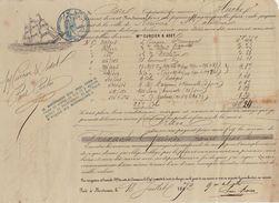 Connaissement Transport Bateau Le Bluche De Bordeaux à Noumea Nouvelle Caledonie 1872 - Transports