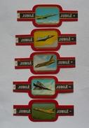 Lot  De 5 Bagues De Cigare JUBILE- AVIONS ( 1-2-4-5- 6 ) - Marque Et Type Au Verso - Bagues De Cigares