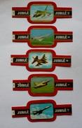 Lot  De 5 Bagues De Cigare JUBILE- AVIONS ( 7-8-9-10- 11 ) - Marque Et Type Au Verso - Cigar Bands