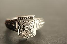 """Bague Vintage Chevalière Argenté Années 20 """"Armoiries Bretagne"""" 19.4mm - T61 - Brittany Celtic Ring - Bagues"""
