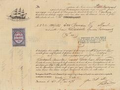 Connaissement Transport Bateau Le Petit Bourgeois De Bordeaux à Nouméa Nouvelle Calédonie 1876 - Transports