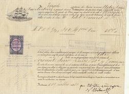 Connaissement Transport Bateau Le Notre Dame L'auxiliatrice De Bordeaux à Nouméa Nouvelle Calédonie 1880 - Transports