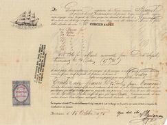 Connaissement Transport Bateau Le Bossuet De Bordeaux à Nouméa Nouvelle Calédonie 1880 - Transports