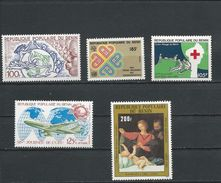 BÉNIN Scott 534, 545, 547, 551, C307 Yvert  553, 563, 566, 570, PA321 (5) ** Cote 9,50$ 1982-3 - Bénin – Dahomey (1960-...)
